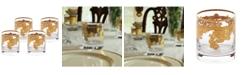 Lorren Home Trends Embellished 24K Gold Crystal Double Old Fashion - Set of 4
