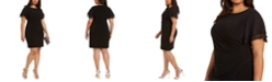 Jessica Howard Plus Size Flutter-Sleeve Side-Ruched Dress