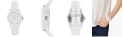 A|X Armani Exchange Women's Lady Bank White Silicone Strap Watch 40mm