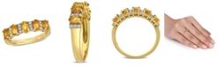 Macy's Citrine (1-1/6 ct. t.w.) and Diamond (1/6 ct. t.w.) Semi Eternity Ring in 14k Yellow Gold
