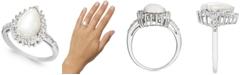 Macy's Opal (1-3/4 ct. t.w.) & Diamond (1/4 ct. t.w.) Pear Halo Ring in Sterling Silver