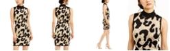 Planet Gold Juniors' Glitter Leopard-Print Sweater Dress