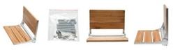 "ALFI brand 17"" Folding Teak Wood Shower Seat Bench with Backrest"