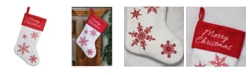 """Northlight 15.25"""" Red and White """"Merry Christmas"""" Snowflake Embroidered Christmas Stocking"""