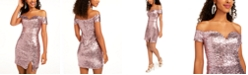 B Darlin Juniors' Off-The-Shoulder Sequined Bodycon Dress