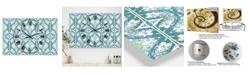 "Designart Embossed Teal Pattern V Large Mid-Century 3 Panels Wall Clock - 23"" x 23"" x 1"""