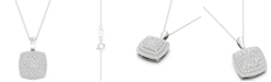 """Macy's Diamond Square Cluster Pendant Necklace (1/2 ct. t.w.) in Sterling Silver, 16"""" + 2"""" extender"""