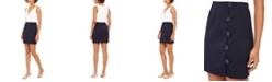 Teeze Me Juniors' Two-Tone Button-Skirt Dress