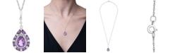 """Macy's Multi-Gemstone Teardrop 18"""" Pendant Necklace (1 ct. t.w.) in Sterling Silver"""