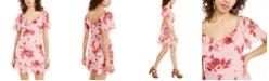 City Studios Juniors' Swiss-Dot Floral A-Line Dress