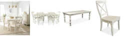 Furniture Aberdeen Worn White Expandable Dining Furniture, 7-Pc. Set (Table & 6 Side Chairs)