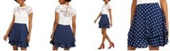 B Darlin Juniors' Lace & Polka Dot Dress