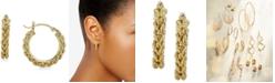 Macy's Heart Rope Chain Hoop Earrings in 14k Gold