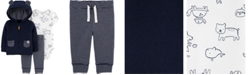 Carter's Baby Boys Printed Bodysuit, Bear Hoodie & Striped Pants Set