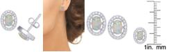 Macy's Simulated Opal & Cubic Zirconia Oval Stud Earrings in Sterling Silver