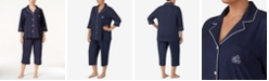 Lauren Ralph Lauren Plus Size Button-Front Top and Pants Pajama Set