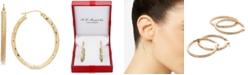 Macy's Textured Oval Hoop Earrings in 14k Gold, 1-3/8 inch