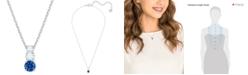 "Swarovski Silver-Tone Triple-Crystal Pendant Necklace, 14-4/5"" + 2"" extender"