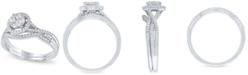 Macy's Diamond Halo Cluster Bridal Set (1/2 ct. t.w.) in 14k White Gold