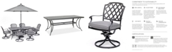 """Furniture Grove Hill II Outdoor Cast Aluminum 7-Pc. Dining Set (72"""" X 38"""" Table & 6 Swivel Chairs) With Sunbrella® Cushions, Created for Macy's"""