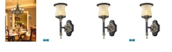ELK Lighting 1 Light Wall Bracket in Antique Bronze and Dark Umber and Marblized Amber Glass - LED Offering Up To