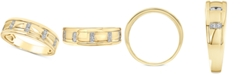Macy's Men's Diamond Band (1/10 ct. t.w.) in 10k Yellow Gold and 10k White Gold