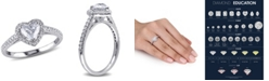 Macy's Certified Diamond (7/8 ct. t.w.) Heart-Shape Halo Engagement Ring in 14k White Gold