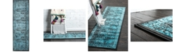 "Bridgeport Home Linport Lin1 Turquoise/Black 3' x 9' 10"" Runner Area Rug"