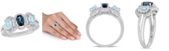 Macy's Blue Topaz (1-3/5 ct.t.w.) and Diamond (1/5 ct.t.w.) 3-Stone Halo Ring in Sterling Silver