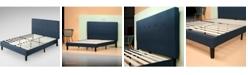 Zinus Omkaram Upholstered Navy Platform Bed / Wood Slat Support Collection