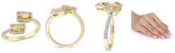 Macy's Baguette Cut Citrine (3/4 ct. t.w.) and Diamond (1/4 ct. t.w.) Open Ring in 14k Yellow Gold