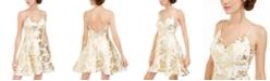B Darlin Juniors' Metallic-Print Scuba Dress