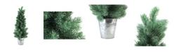 "Northlight 25"" Iced Mini Pine Artificial Christmas Tree in Galvanized Bucket"