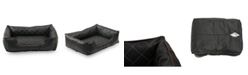 Happycare Textiles  Luxury All Sides Faux Leather Rectangle Pet Bed Collection