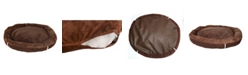 Happycare Textiles Durable Bolster Sleeper Oval Pet Bed with Removable Reversible Insert Cushion and Additional Two Pillow