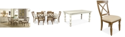 Furniture Aberdeen Driftwood Expandable Dining Furniture, 7-Pc. Set (Table & 6 Upholstered Side Chairs)
