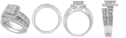 Macy's Diamond Princess Halo Bridal Set (3 ct. t.w.) in 14k White Gold