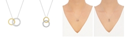 Macy's 241 WEAR IT BOTH WAYS Diamond Interlocking Circle Pendant Necklace (1/5 ct. t.w.) in 14k Two-Tone White and Yellow Gold