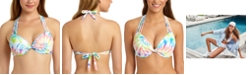 California Waves Juniors' Tie-Dye Printed Underwire Push-Up Bikini Top, Available in D/DD, Created for Macy's