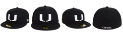 New Era Miami Hurricanes Core Black White 59FIFTY Fitted Cap