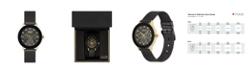American Exchange Ladies Genuine Diamond Collection Black Mesh Bracelet Watch, 33.5mm
