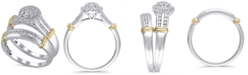 Macy's Certified Diamond (1/2 ct. t.w.) Bridal Set in 14K White and Yellow Gold
