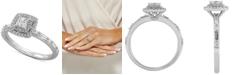 Macy's Certified Diamond Princess Halo Diamond Engagement Ring (3/4 ct. t.w.) in 14k White Gold
