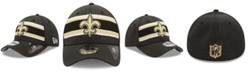 New Era New Orleans Saints Striped Front Tech 39THIRTY Stretch Fitted Cap