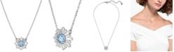 "Swarovski Silver-Tone Crystal Flower Pendant Necklace, 14-7/8"" + 2"" extender"