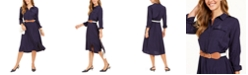 Charter Club Jacquard Dot Button-Front Belted Dress, Created for Macy's