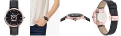 Ferragamo Women's Swiss Minuetto Diamond Accent Black Calf Leather Strap Watch 36mm