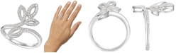 Macy's Diamond Leaf-Inspired Statement Ring (1/4 ct. t.w.) in Sterling Silver
