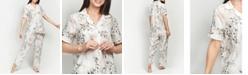 MOOD Pajamas Ultra Soft Floral Classic Short Sleeve Cropped Pajama Set