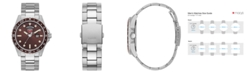 GUESS Men's Silver-Tone and Brown Bracelet Watch 44mm